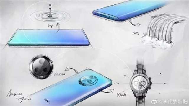 Boceto del Vivo Nex 3 con pantalla curva y triple cámara