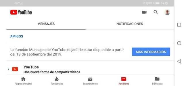 YouTube mensajes