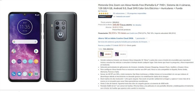Motorola One Zoom en Amazon