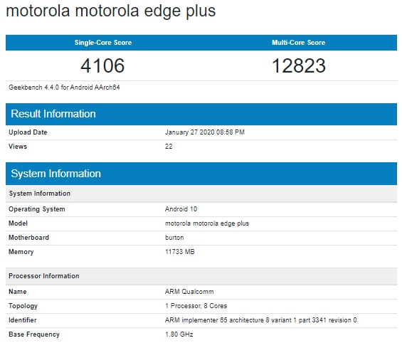Motorola Edge℗ Plus en Geekbench