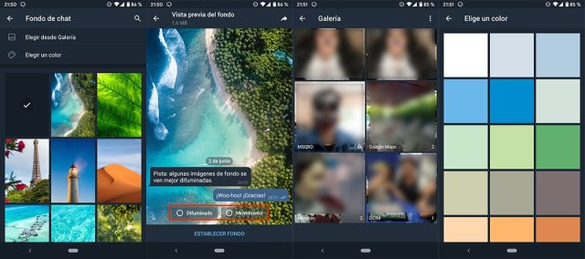 Cambiar imagen de fondo chat Telegram