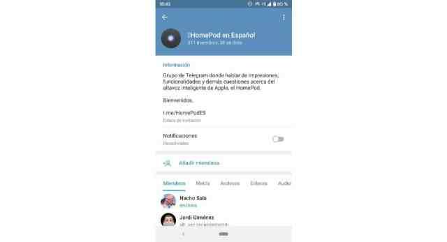 Silenciar grupos en Telegram