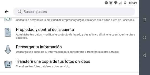 Crear copia seguridad Facebook