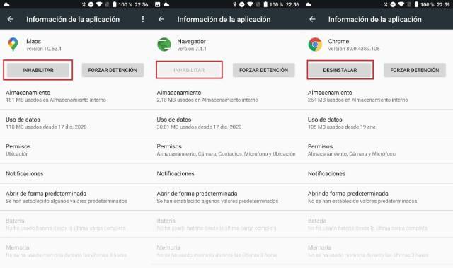 Desactivar apps en Android