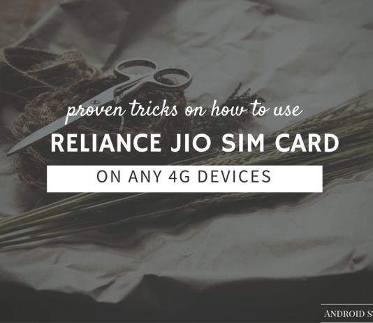 reliance jio sim card in 4G smartphone