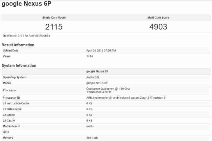 Geekbench test
