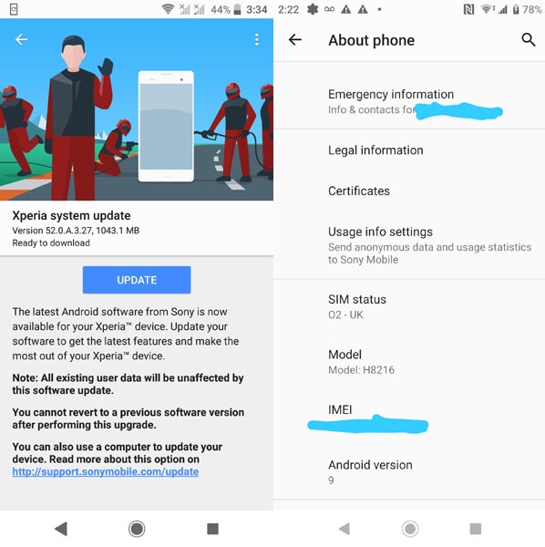 xperia xz2 pie update