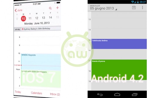 iOS 7 vs Android 4.2: Calendario