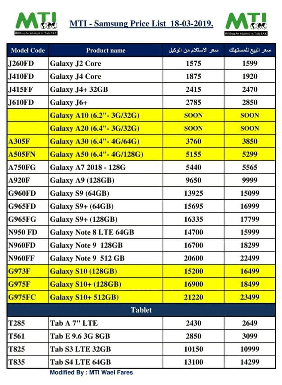 الأسعار الرسمية لهواتف سامسونج Samsung في السوق المصري