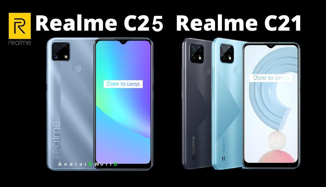 مواصفات وسعر هاتف ريلمي Realme C25 و Realme C21