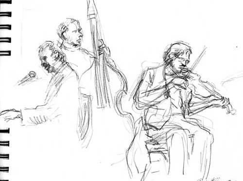 "Jalopy (Brooklyn, NY) with Don Barry, ""Ragtime"" Jack Radcliffe — sketches by Robin Hoffman"