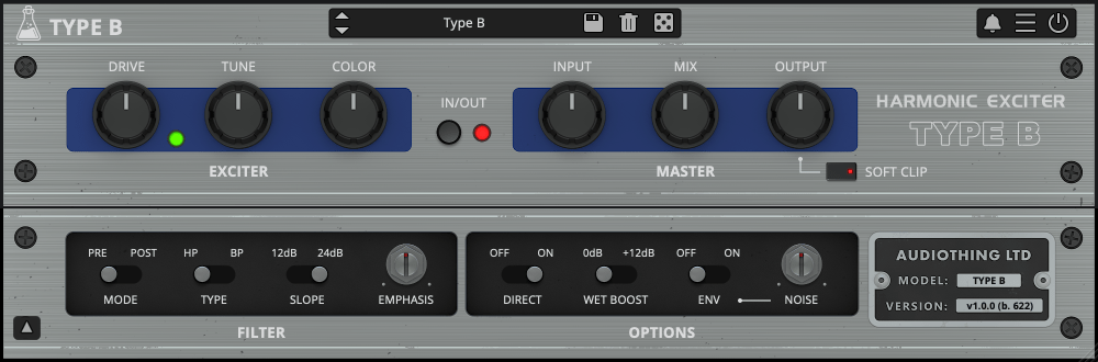 Review of Type B vintage exciter plugin from AudioThing