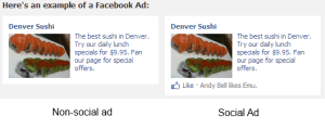 Social ads on Facebook