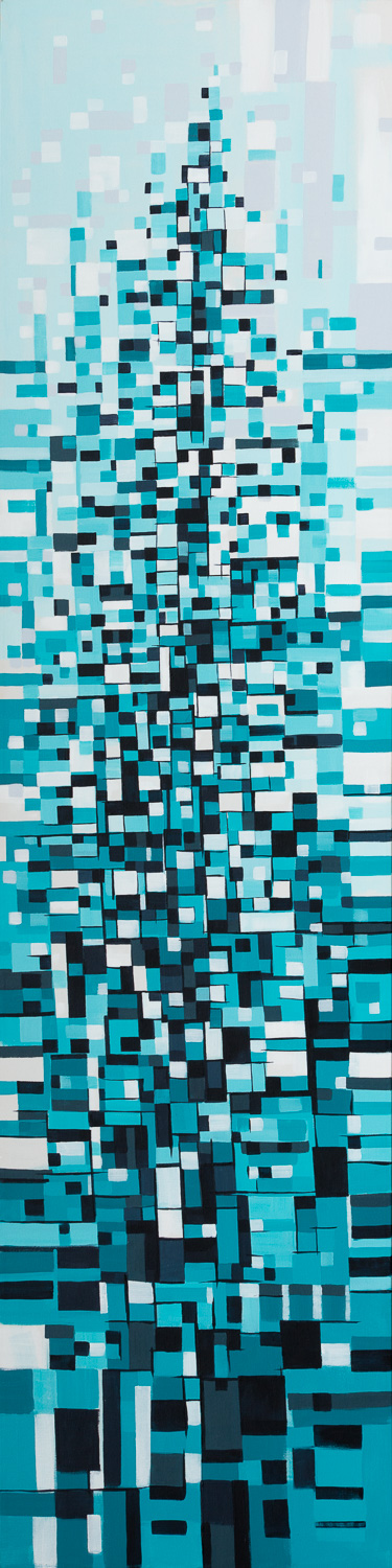 Pixel Tree, size 18x72 in., original available $2400, canvas giclée print available in size L3