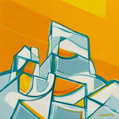 Orange Tusk, original size 24x24 in., original available $1400, canvas giclée print available in sizes S1,S2