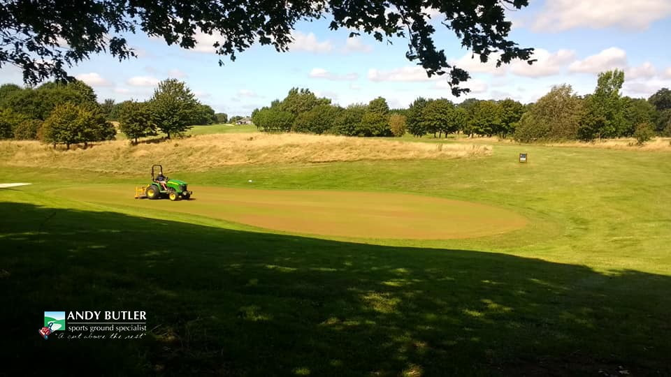 autumn renovation golf green maintenance-ferndown-august-2019 andy butler sports ground specialist-b0001