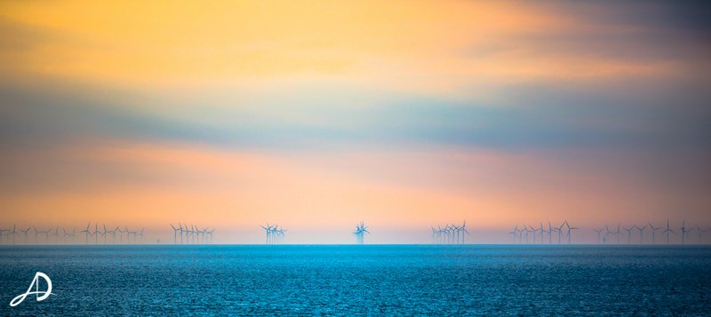 SOMETHING COMPLETELY DIFFERENT - NORTH SEA WIND-FARM LANDSCAPE PHOTOGRAPH 1