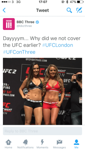 BBC Three's UFC social media mistake