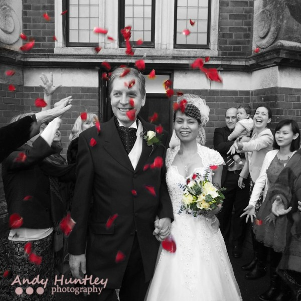 Stunning wedding day photographs from back and white to colour to carefully chosen photo enhancements. Wedding photography by Andy Huntley at ah! Surrey, Sussex and London
