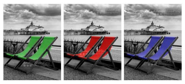 Eastbourne Pier and deckchairs X3