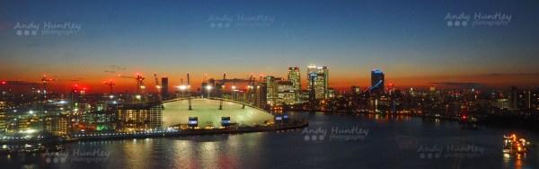 O2 Arena & Canary Wharf at Dusk