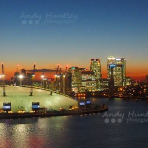 O2 Arena & Canary Wharf at Dusk