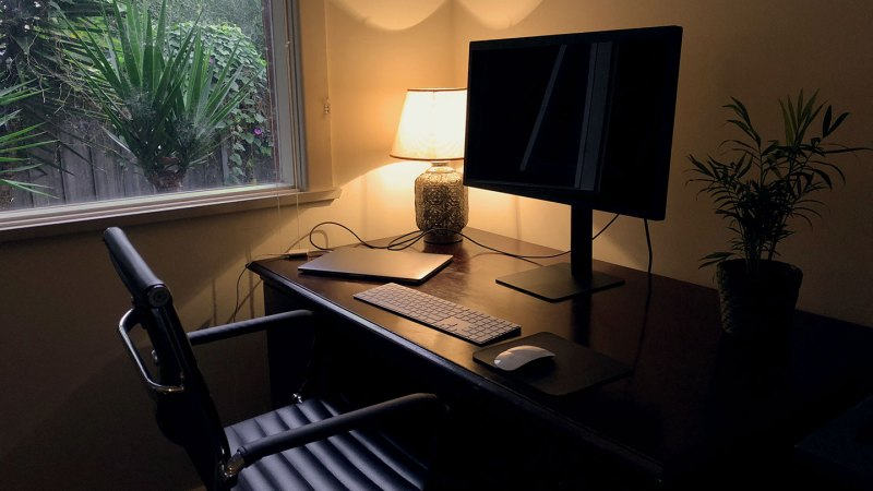 A home office, featuring a wooden desk, laptop, monitor, table lamp, and a pot plant.