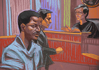 A courtroom sketch of Ahmed Khalfan Ghailani, by Christine Cornell, at his arraignment in New York on June 9, 2009