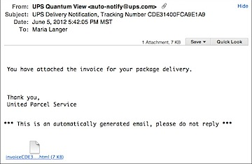 UPS Package Invoice Scam | An Eclectic Mind
