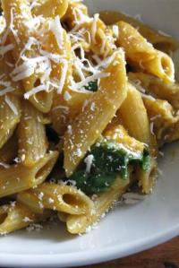 Pasta with Creamy Pumpkin-Sage Sauce, Spinach, and Chicken