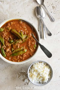 Persian Okra Stew (Khoresh Bamieh) with Small Bowl of Rice and Vintage Spoons