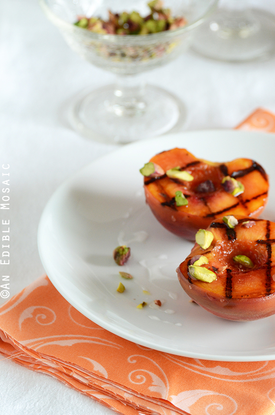 Grilled Peaches with Orange Blossom Syrup and Pistachios 3
