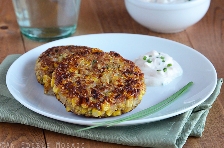 Quinoa Corn Patties with Cool and Creamy Onion Dip 3