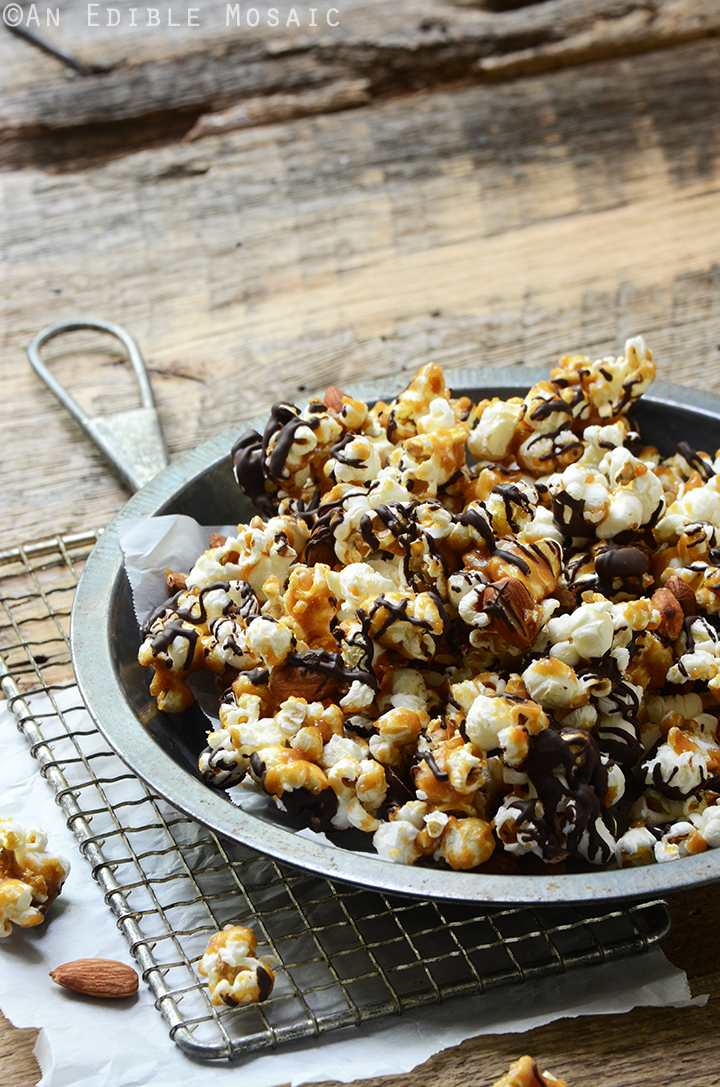 Salted Butter Toffee Popcorn with Dark Chocolate and Toasted Almonds 2