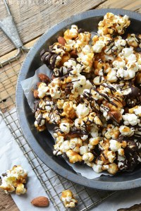 Salted Butter Toffee Popcorn with Dark Chocolate and Toasted Almonds