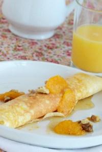 Vanilla-Ricotta Stuffed Crepes with Orange-Maple-Walnut Syrup {Giveaway}