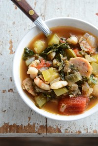 What I Eat When No One is Looking {And a Recipe for Vegetable Medley Stew with White Beans + Chicken Sausage}
