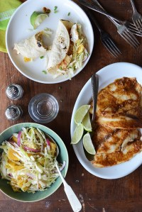 Ancho-Garlic Fish Tacos with Citrus-Mint Cabbage Slaw