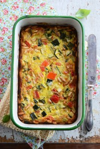Roasted Vegetable Crustless Quiche with Basil & Pine Nuts {Cuisine Nicoise Cookbook Giveaway}