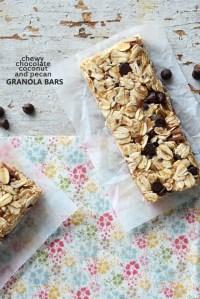 Chewy Chocolate, Coconut, and Pecan Granola Bars {No-Bake; Vegan; Gluten-Free}