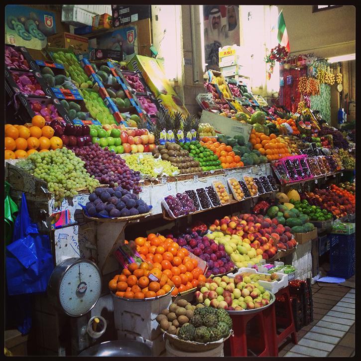 Fruit and Vegetable Stand at Souq Al Mubarakiya in Kuwait