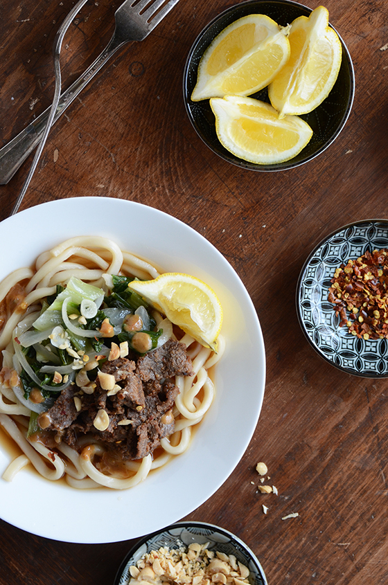 Beef with Udon Noodles and Baby Bok Choy with Peanut Butter Sauce