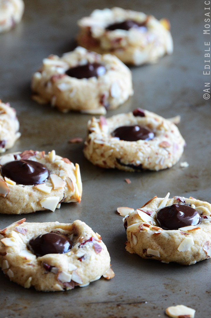 Cranberry Chocolate Almond Thumbprint Cookies 2