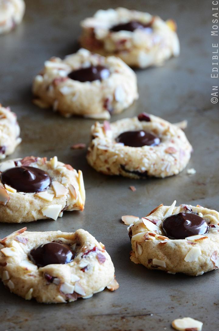 Cranberry Chocolate Almond Thumbprint Cookies 2