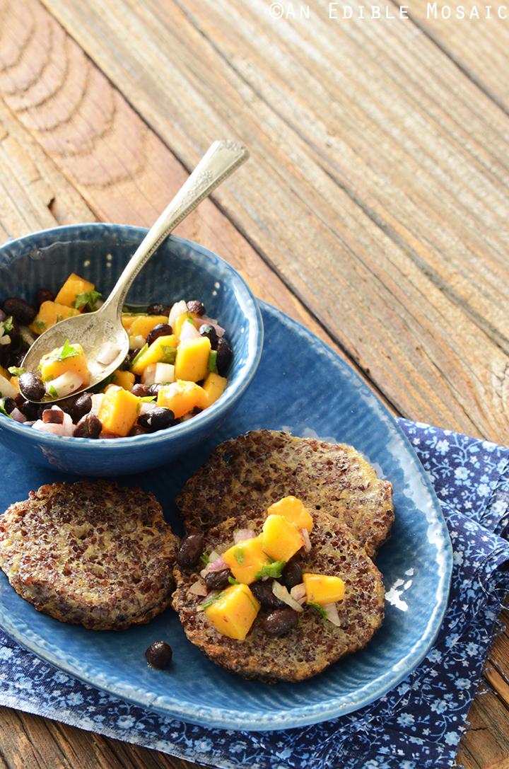 Garlicky Red Quinoa Patties with Mango Black Bean Salsa Recipe 2