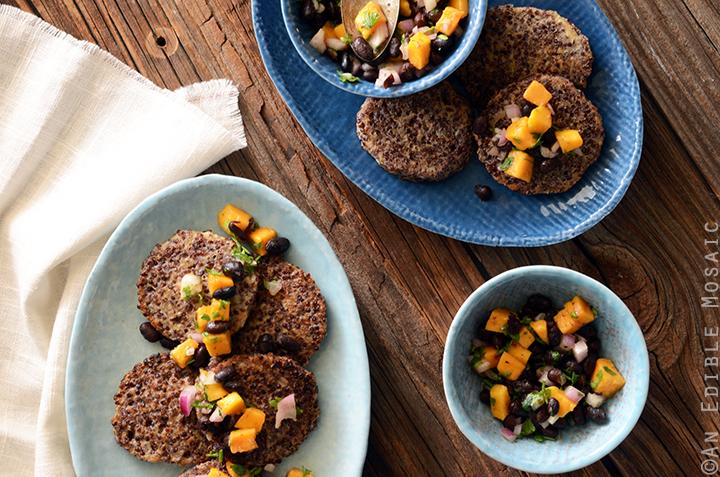 Garlicky Red Quinoa Patties with Mango Black Bean Salsa Recipe 3