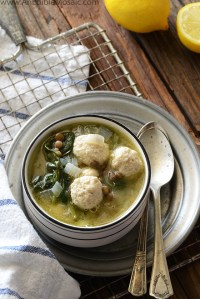 Lentil Soup with Spinach and Mini Chicken Meatballs {Gluten-Free}