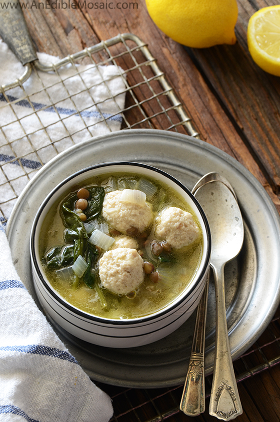 Lentil Soup with Spinach and Mini Chicken Meatballs