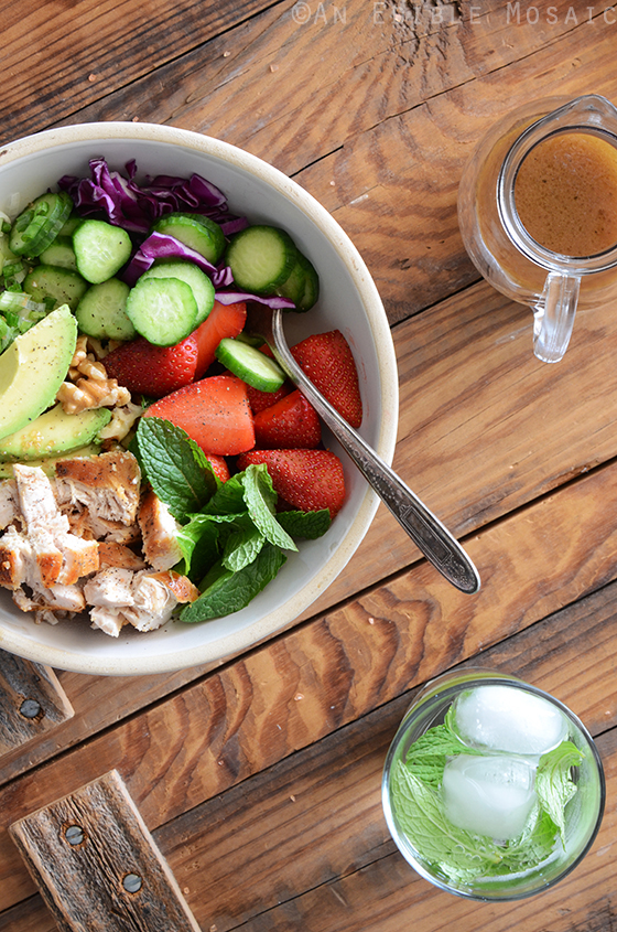 Chicken Salad Bowl with Avocado, Strawberry, and Walnut 2