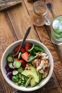 Chicken Salad Bowl with Avocado, Strawberry, and Walnut {Paleo}